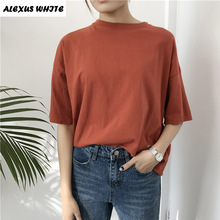 Фотография 2017 Women Summer Style Fashion Harajuku Solid T Shirts Kawaii Cotton Short Sleeve Casual Tee Female Loose Cute Tops