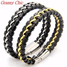 Granny Chic Fashion Men Charm Bracelet Black Leather Bracelet Stainless Steel Magnetic Clasps Bracelets Male Silver Gold Jewelry
