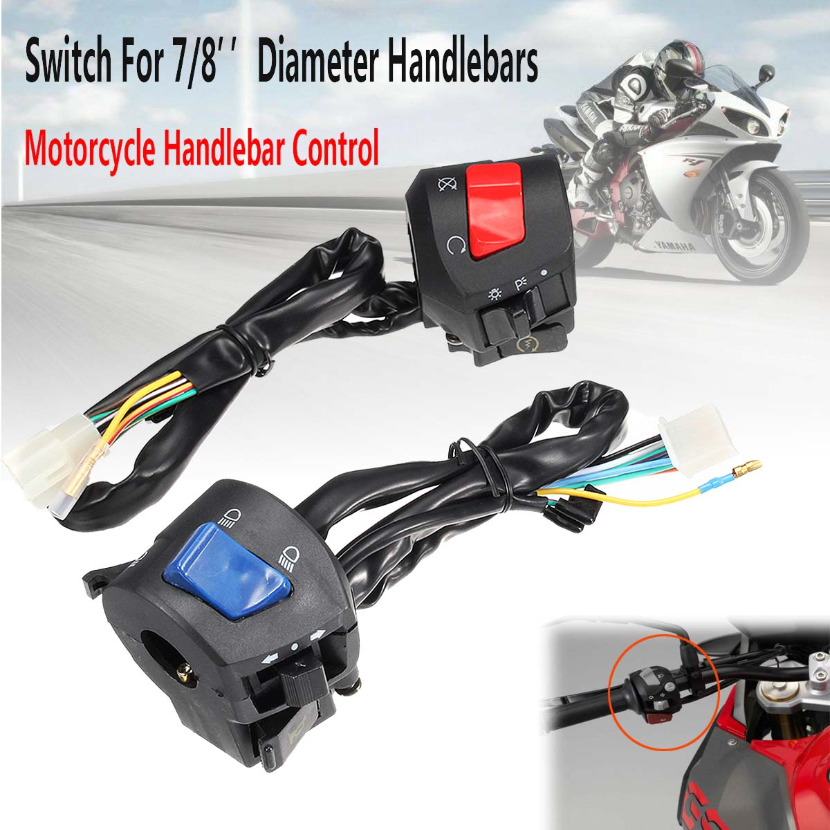 Pair Universal 7/8inch Motorcycle Handlebar Horn Turn Signal Light Control Switch Replacement Accessories Parts Left Right Side modified motorcycle accessories refires horn trolley belt oil pump cnc general horn refires