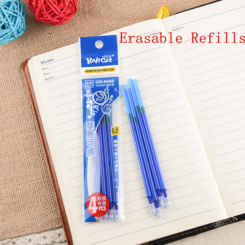 Magic Pen 0.5mm Erasable Gel Pen Refill Blue Black Ink For Pen Refills School Stationery 12pcs 70 pcs pack black red non erasable pen refills universal fountain pen ink sac cartridges pen refill office stationery
