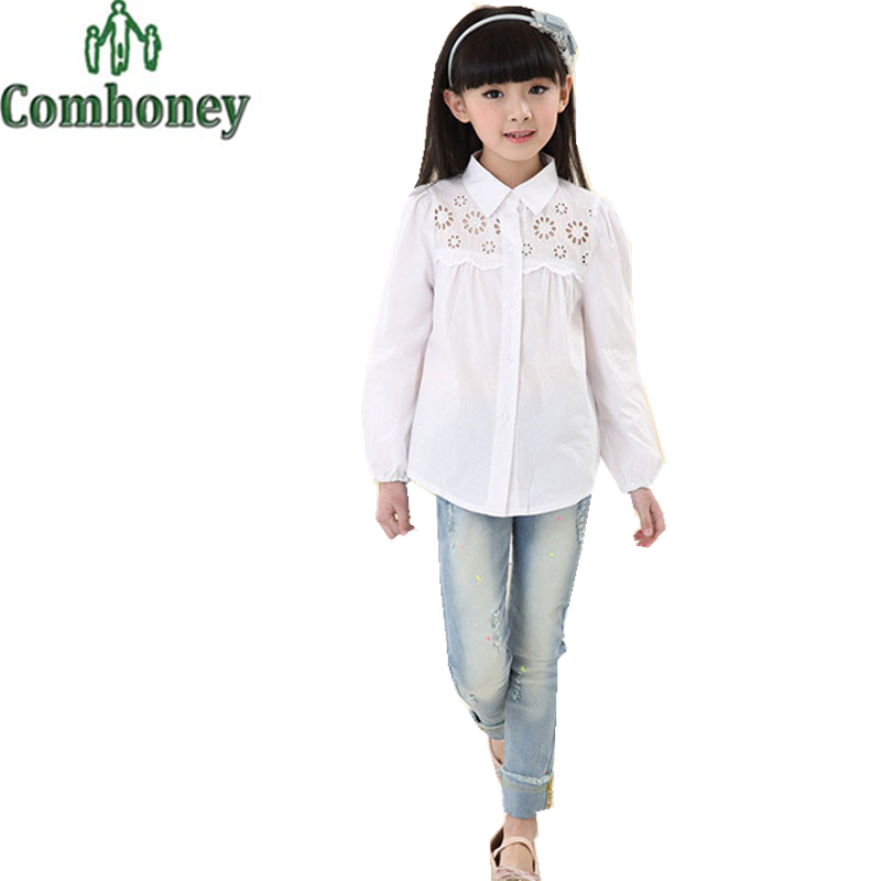 School Girl Blouse Long Sleeve Baby Girls White Shirt Floral Hallow Out Blouse for Girl Casual Child School Blouse Kids Clothes