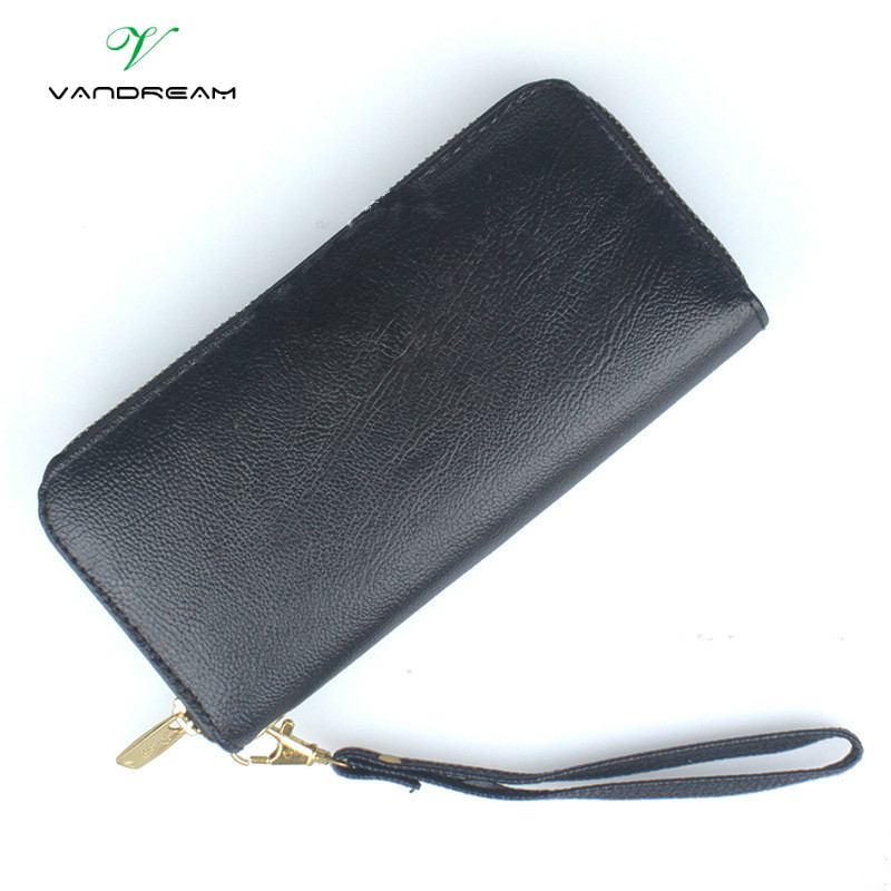 High Capacity Fashion Brand Women Wallets Long PU Leather Female Designer Zipper Clutch Coin Purse Ladies Wristlet Bag Black Red fashion wallets long dull polish pu leather double zipper clutch coin purse wristlet high capacity
