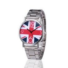 Casual Fashion Style Women Lady Clock Exquisite Design Letter&Flag Print Dial Stainless Steel Strap Quartz Watch Montre Femme
