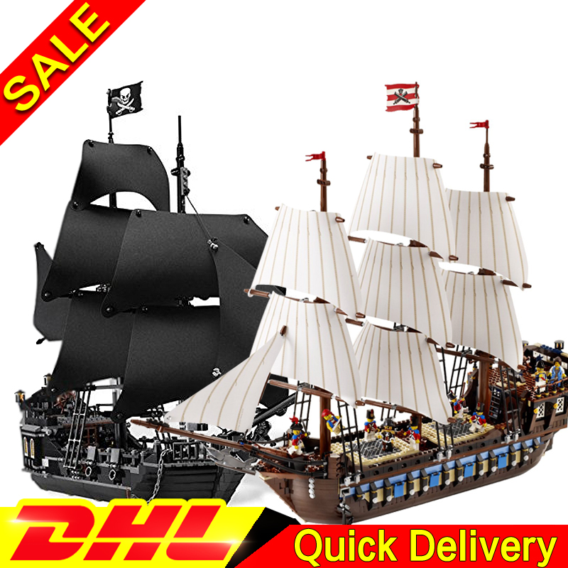 LEPIN 16006 Black Pearl Ship  + 22001 Imperial Warships Model Building Blocks For children Pirates Series Toys Clone 4184 10210 lepin 22001 pirates series the imperial war ship model building kits blocks bricks toys gifts for kids 1717pcs compatible 10210
