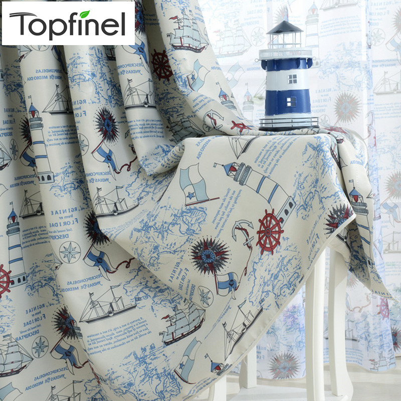 Topfinel Blackout Curtains For Living Room Bedroom  Children Kid Room Pirate Ship Anchor Boys Room Window Treatment Panel Drapes