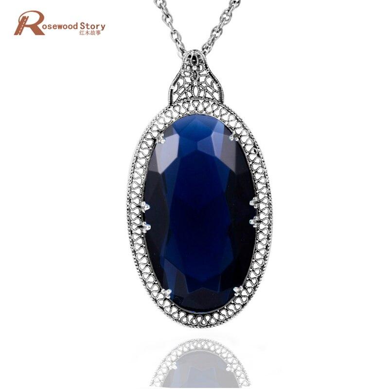 cd2df91bc135 Thomas joyería Socialite colgantes creado Sapphire piedra Día de San  Valentín 925 Plata cristal colgante collar para las mujeres