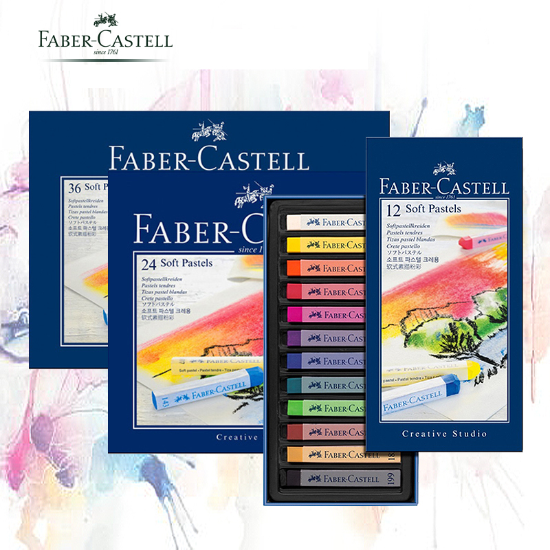 Faber-Castell Pastel Stick 12/24/36/48/72 Colors Dyed Chalk Wax Colors Blue Box Oil Pastel Crayon Soft Pastel Blando For Art шайба diffusor sh30 6m