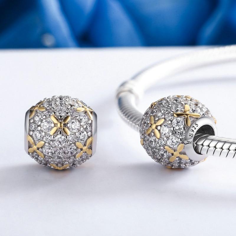 BISAER 925 Sterling Gümüş ürək Snowflake ağcaqayın yarpaqları - Moda zərgərlik - Fotoqrafiya 5
