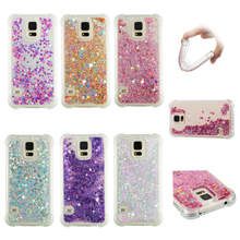 цена на For Samsung Galaxy S5 case Back cover Bling Glitter Dynamic Quicksand Liquid Case for Samsung S5 I9600 S6 S7 Edge Cover Funda