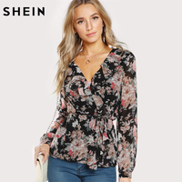 SHEIN V Neck Womens Tops Frilled Neckline Surplice Wrap Top Multicolor Long Sleeve Chiffon Top Floral