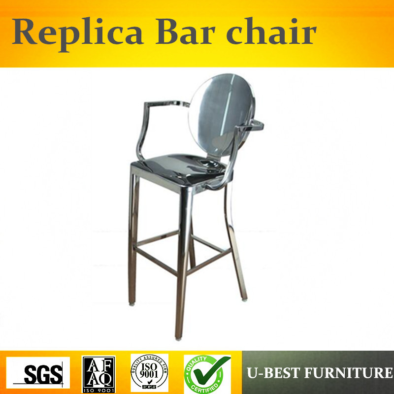 Free Shipping U-BEST Designer High Barstool,Stainless Steel Bar Chair Simple Retro Stool