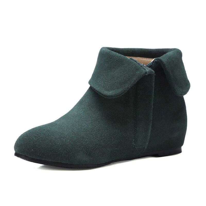 Smirnova Cuir Noir Cheville 3343 Nouveau Vache Suède De Taille Dames Chaussures rouge En Grande Femme Bottes 2018 D'hiver Mode Casual vert Med Talons m0Nw8n