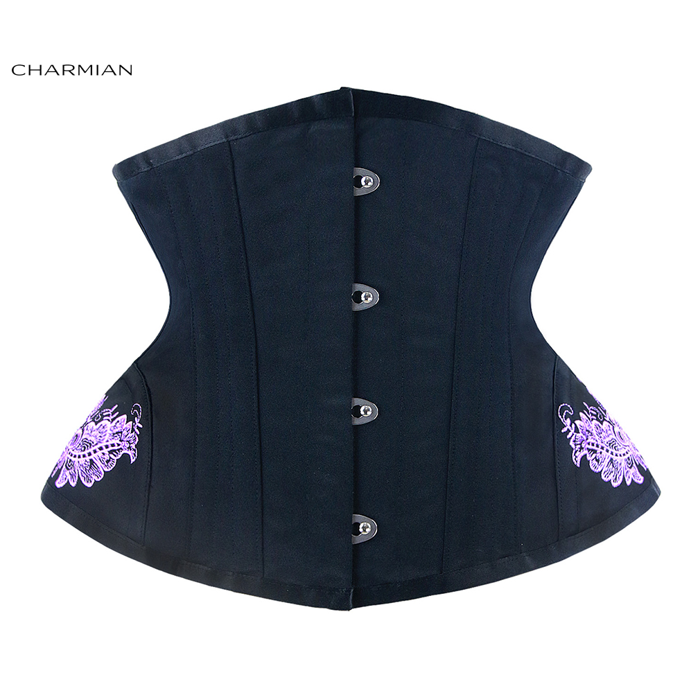 Charmian Women's Vintage Waist Trainer Sexy Underbust Corset Top Embroidery Corsets and Bustiers Shapewear Corselet Corpete
