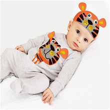 2016 Hot Baby Boys Girls Kids Newborn Cotton Romper Hat Costume Outfits Set 6M-24M