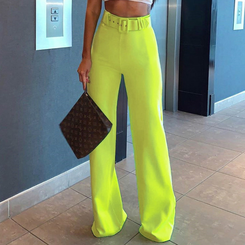 Women High Waist Solid   Pant   Fashion Palazzo   Pants   Neon Green Streetwear Loose Jogger Ladies Casual   Pants   2019 New   Wide     Leg     Pant