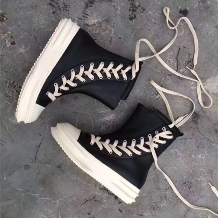 New 2017 Winter Cowhide Slope Long Lace High Top Boots Hot Street Platform Blade Runner Luxury Trainer BootsNew 2017 Winter Cowhide Slope Long Lace High Top Boots Hot Street Platform Blade Runner Luxury Trainer Boots