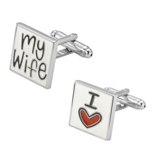 Men's shirts Cufflinks high-quality copper material  I love my wife Cufflinks 2 pairs of packaging for sale