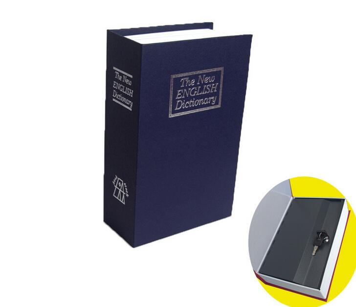 Hot Selling Blue Steel Dictionary Hidden Secret Book Safe Money Box Security Key Lock