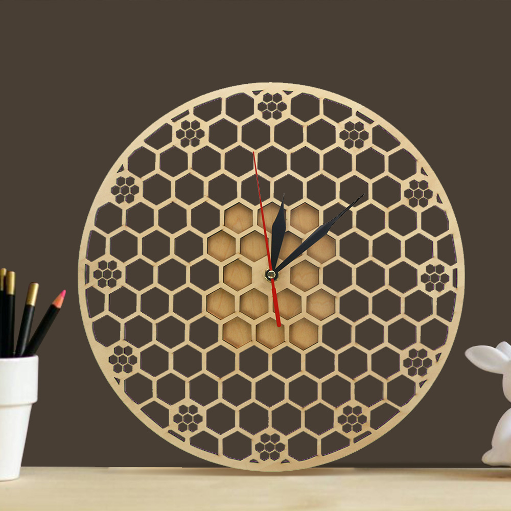 Sweet Honey Honeycomb Natural Wooden Wall Clock Hexagon Wall Art Wood Bee Honey Net Contemporary Hanging Clocks
