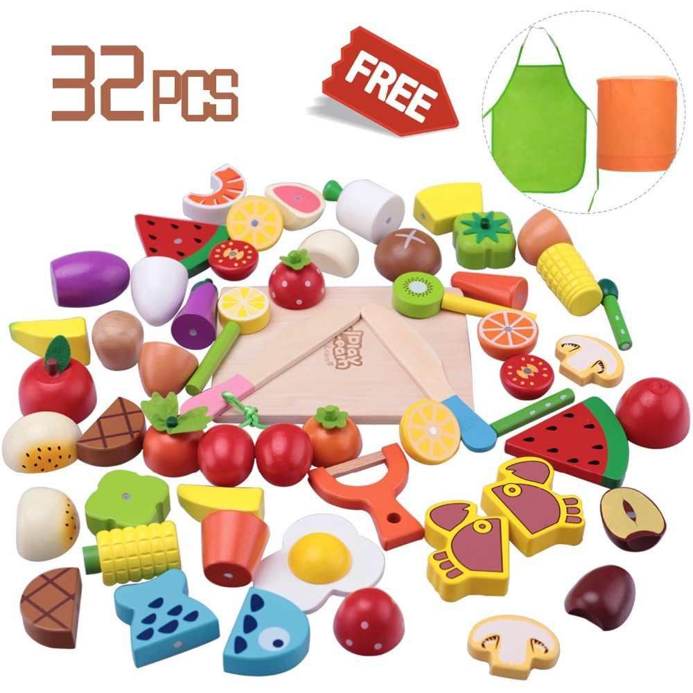 Деревянные наборы для приготовления пищи, Магнитные деревянные овощи фрукты, ролевые игры, кухонные наборы, игрушки для 2 лет