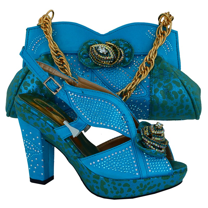 ФОТО New Fashion Style Ladies High Heels Shoes And Bag Set African Rhinestone Woman Shoes And Bag Set For Party Sky Blue Color MM1016