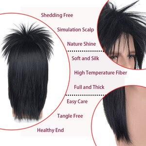 Image 3 - Парик для косплея xi.rock, черный синтетический парик средней длины для косплея