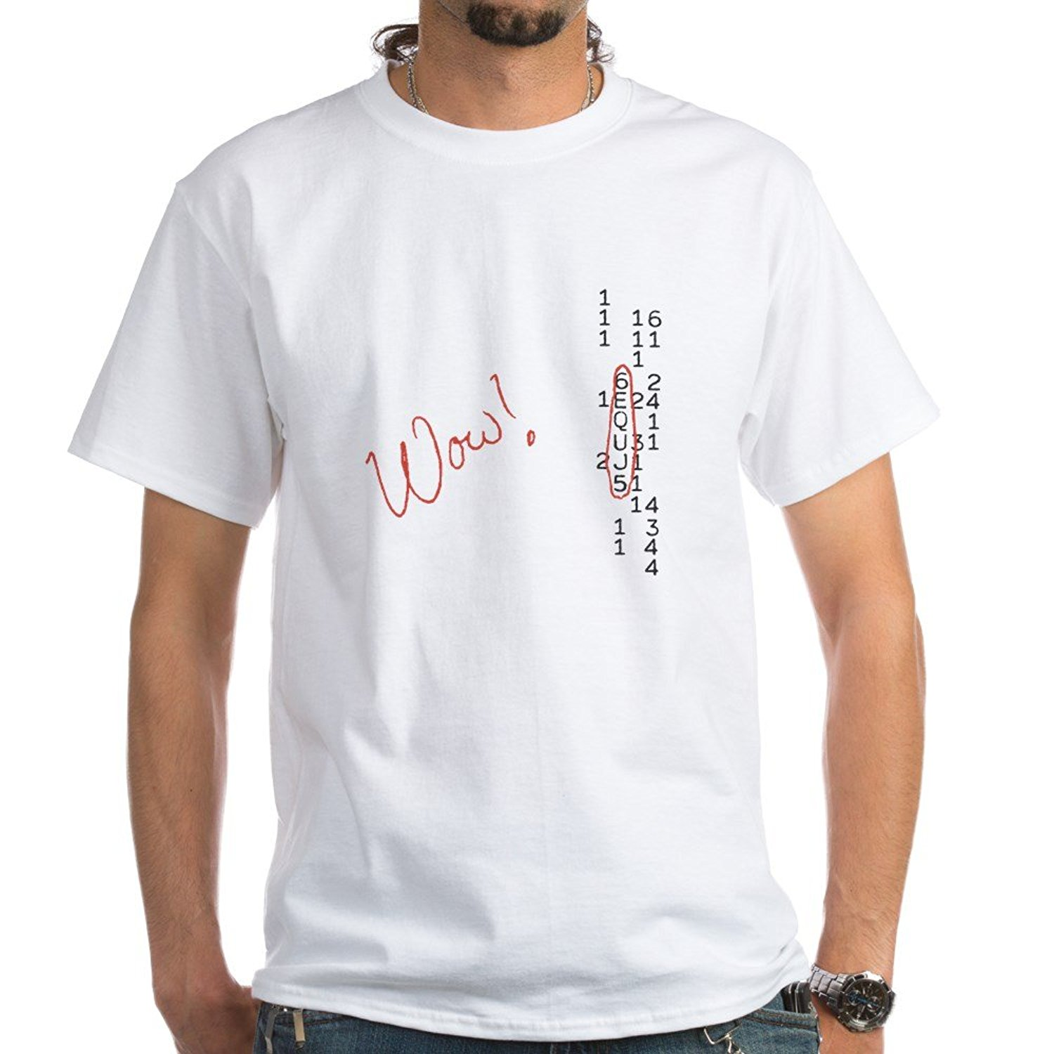 Wow Signal SETI Message T-Shirt - 100% Cotton T-Shirt, White