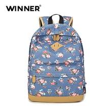 Победитель студентов школьные сумки подросток винтажные повседневные Цветочный Рюкзак Мода для девочек рюкзак на плечо мешок холщовый рюкзак