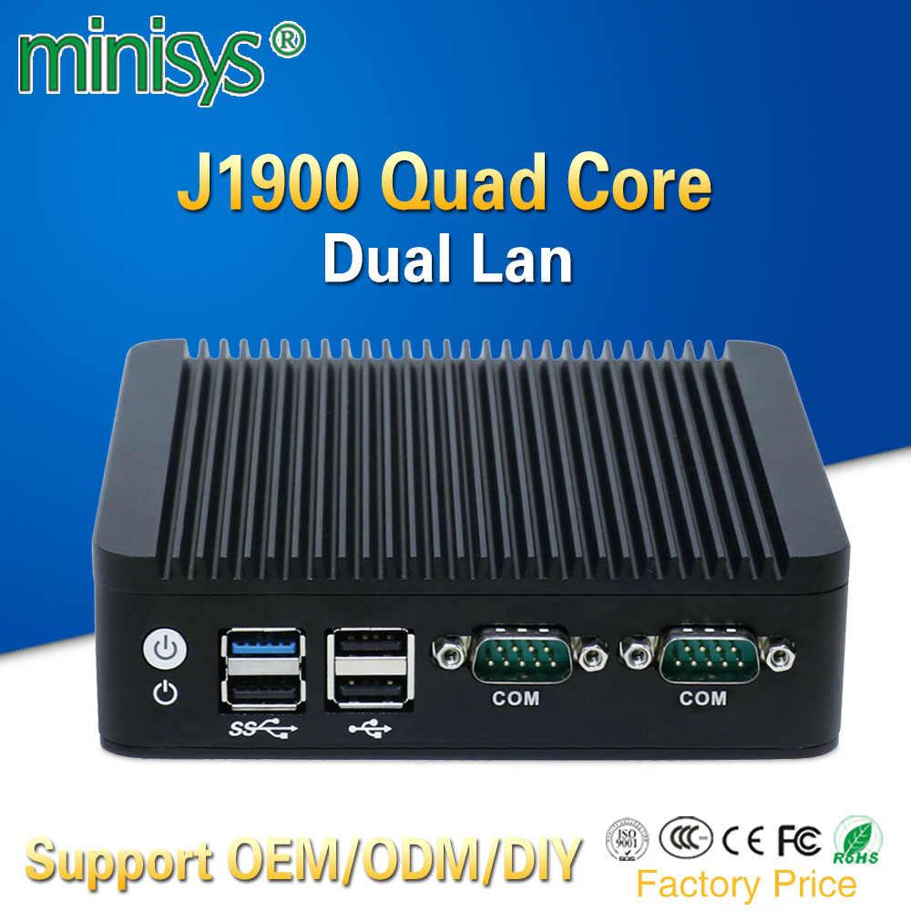 2 Ethernet Mini PC Intel J1900 Quad Core Mini ITX Ốp lưng không quạt máy tính hỗ trợ SSD 128 GB eMMC 4 ram dành cho Windows 10