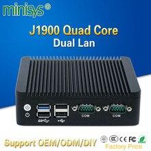 2 Ethernet mini pc Intel j1900 quad core mini itx case fanless desktop computer support 128gb SSD emmc 4gb ram for windows 10