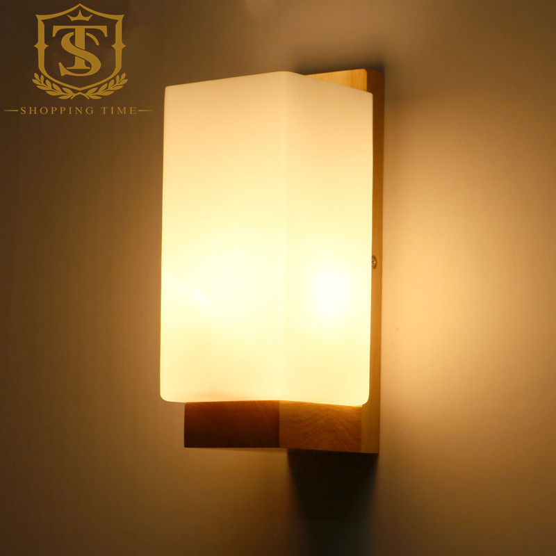 Led modern wood wall lamp glass shade wall sconce bedroom corridor led modern wood wall lamp glass shade wall sconce bedroom corridor wall mounted lights pw029 in led indoor wall lamps from lights lighting on aloadofball Gallery