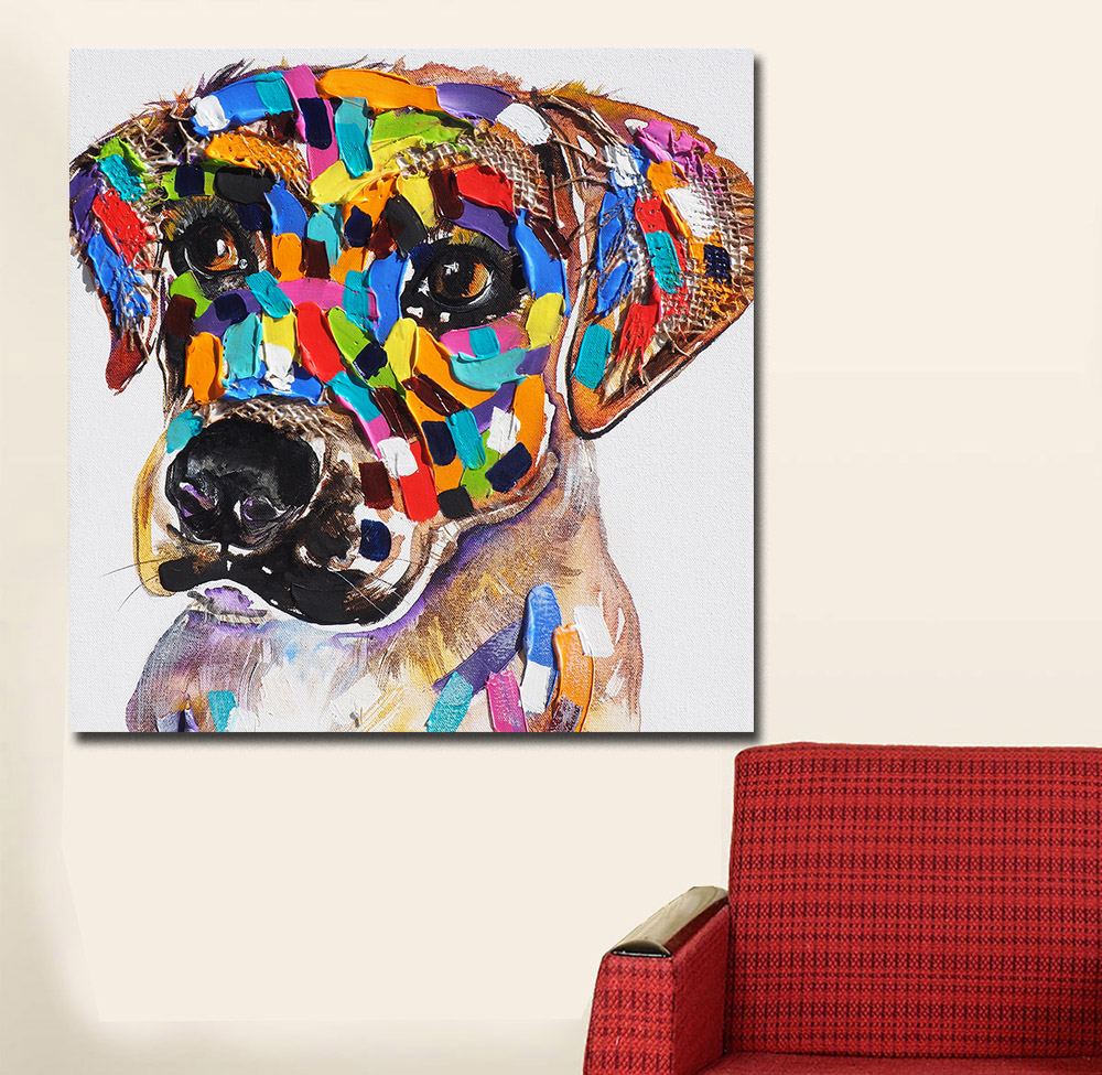 Large Size Pop Art Dog Oil Painting Wall Art Picture Paiting Canvas Paints Home Decor Abstract Print Painting Modern Wall Decor