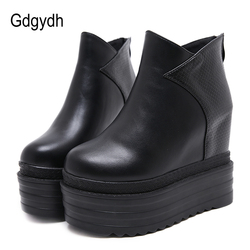 Gdgydh Female Platform Wedges Boots Black Autumn Ankle Boots For Women High Heels Ladies Leather Shoes Back Zipper Free Shipping