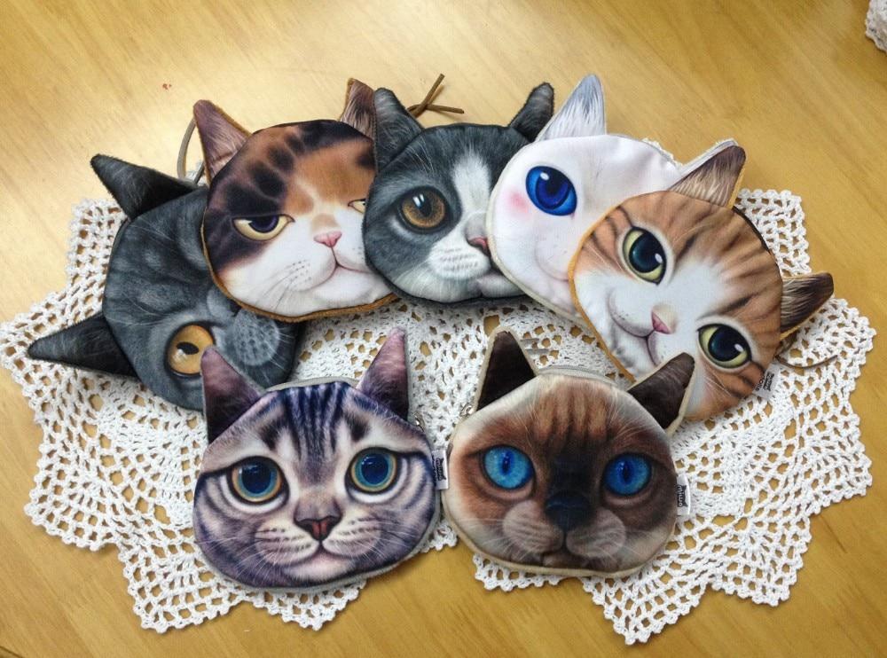 Bagaj ve Çantalar'ten Para Çantaları'de 24 ADET Yüksek Kaliteli 3D Hayvan Baskılar Kumaş bozuk para cüzdanı Kızlar için Fermuar Kadın Cüzdan Kedi çanta'da  Grup 3