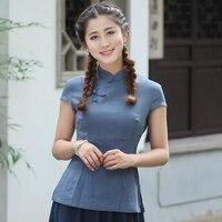 Summer Hot Sale Women Vintage Casual Blouse Chinese Style Cotton Linen Elegant Slim Shirt Tops Size