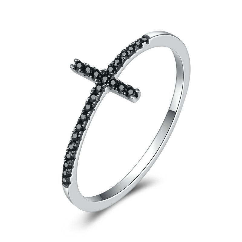 Fashion Trendy 925 Sterling Silver Faith Cross Shape Finger Rings for Women with Black Clear CZ Sterling Silver Jewelry Gift