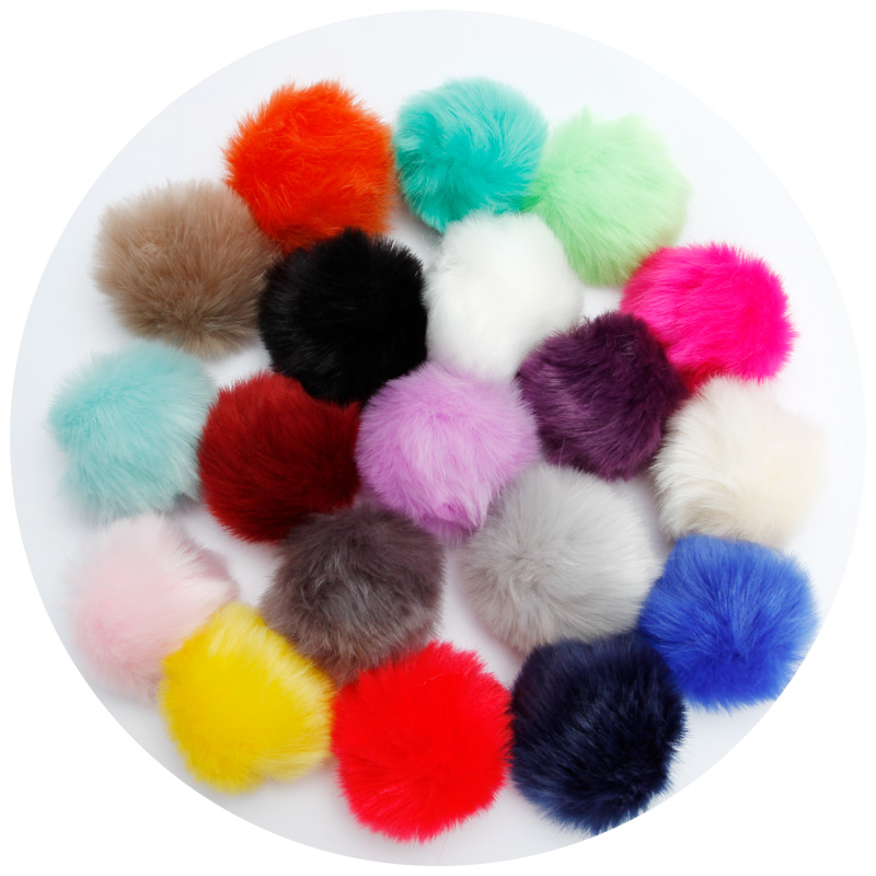 8cm Fake Faux Rabbit Fox Fur Pompom Ball <font><b>Pom</b></font> for Car Keychain <font><b>Keyring</b></font> Women bag Pendant DIY wholesale A image
