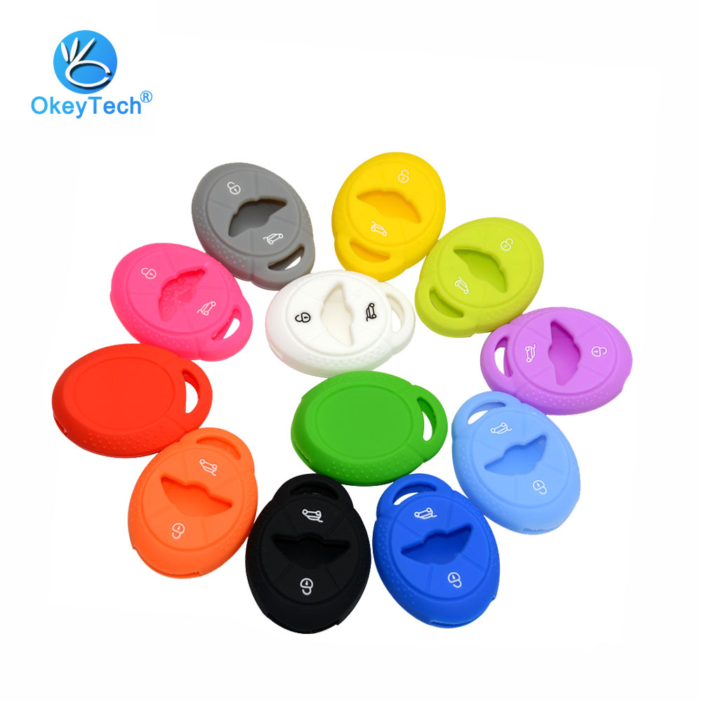 OkeyTech Silicone Car Key Cover Case 2 Button Protective Rubber Fob Repair Skin Bag For BMW Mini Cooper S R50 R53 Car Styling
