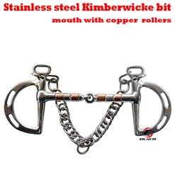 Frete grátis stainless steel Kimberwicke bit. boca articulado com SS & rolos de cobre. bit cavalo, produto do cavalo (BT0904)