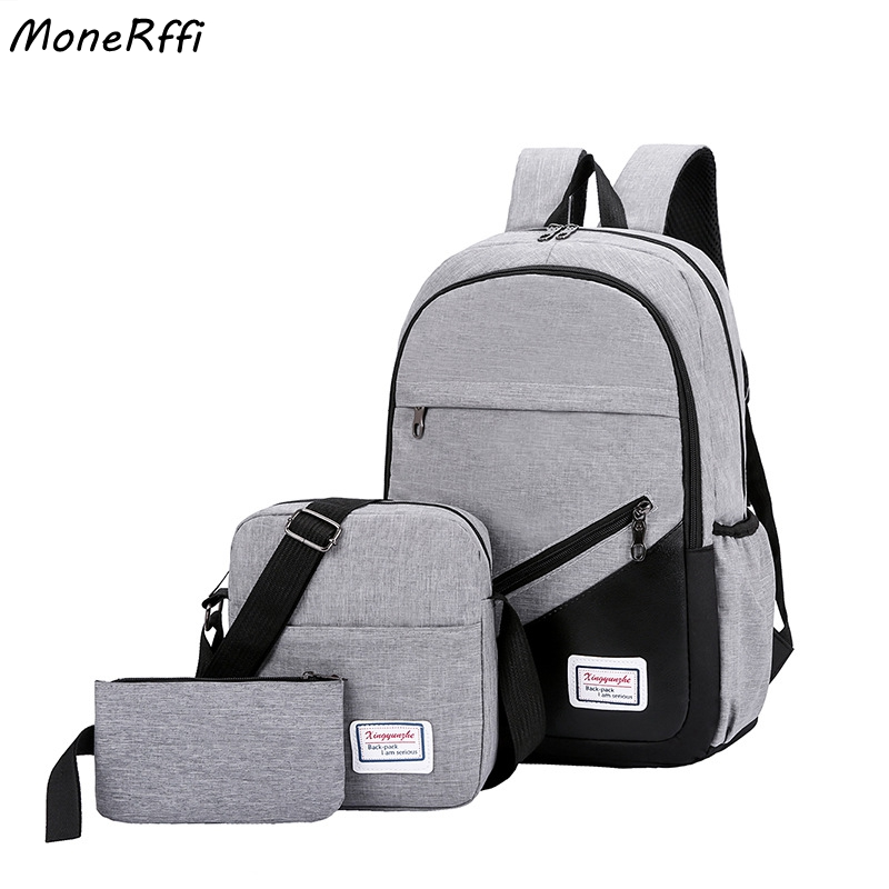 MoneRffi USB Charging Canvas Backpack 3 Pcs/set Women School Backpacks Schoolbag For Teenagers Man Student Book Bag Boys Satchel