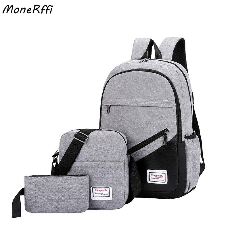 MoneRffi USB Charging Canvas Backpack 3 Pcs/set Women School Backpacks Schoolbag For Teenagers Man Student Book Bag Boys Satchel