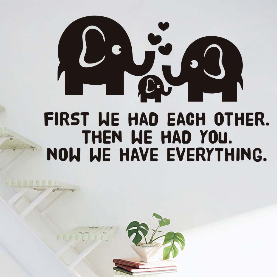 First We Had Each Other Inspirational Hearts Quotes Wall Sticker For Kids Room Sweet Family Vinyl Stickers Wallpaper Home Decor