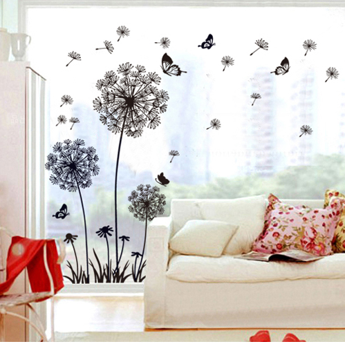 Black Dandelion Glass Wall Stickers Decals Adhesive Removal Flower Vinyl Wallpaper Mural ...