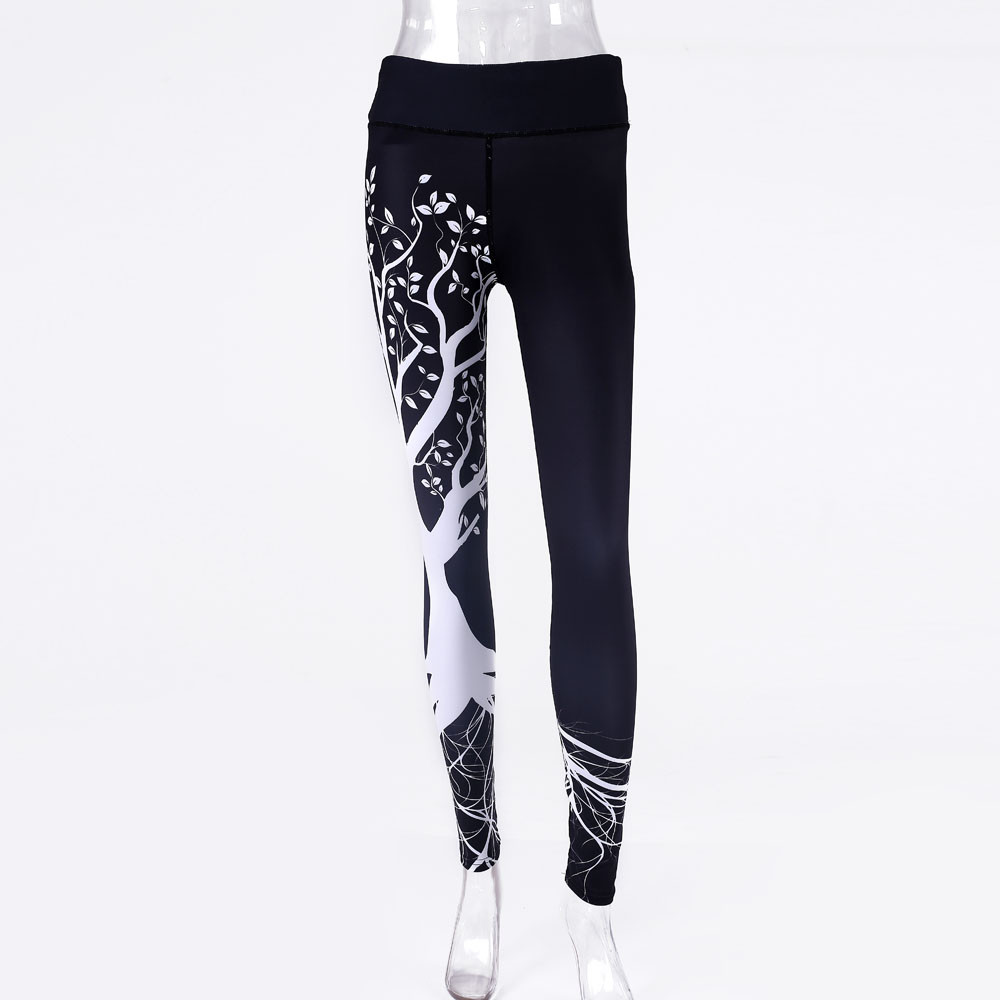Women Printed Sports Leggings Workout Gym Fitness Exercise Athletic Trousers Polyester High Elastic Waist Leggings #P5