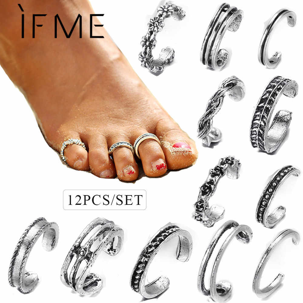 IF ME Vintage Foot Ring Set for Women 12PCs/Set Antique Silver Color Flower Leaf Toe Rings Open Sexy Foot Summer Beach Jewelry
