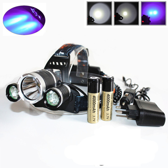 3 LED Headlight 6000LM XM-L T6 UV LED Headlamp Ultraviolet 405nn Rechargeable Head lamp+ 2pcs 18650 Battery +Charger+Car Charger