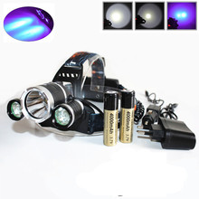 3 LED Headlight 8000LM XM-L T6 UV LED Headlamp Ultraviolet Rechargeable Head lamp+ 18650 Battery Car Ac Charger