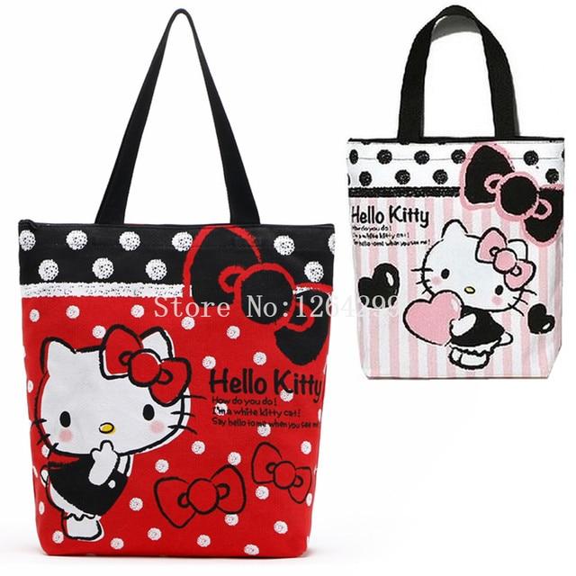 c97bda70c New Hello Kitty Girls Kids Canvas Zipper Shoulder Bags Woman Shopping Bag  For Children