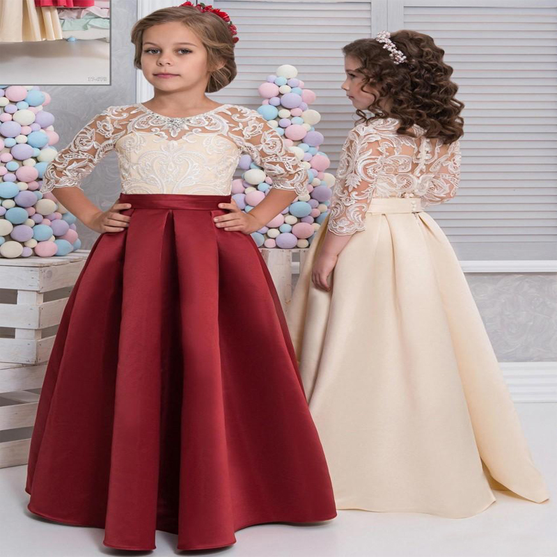 Floor Length Lace Satin Flower Girl Dresses Sleeves Red Champagne Mother Daughter Dresses For Children Christmas Party Prom Gown new red champagne flower girl dresses long sleeves lace satin mother daughter dresses for children christmas party prom gown