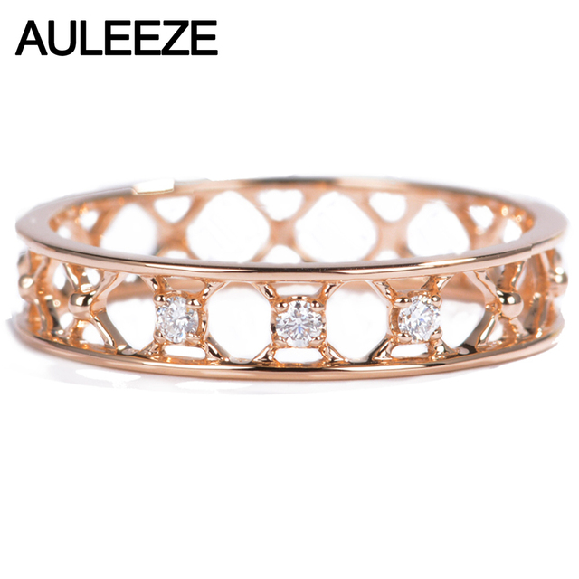 AULEEZE Jewelry Solid 18K Rose Gold Ring Natural Diamond Wedding
